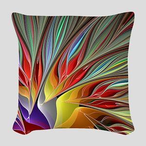 Fractal Bird of Paradise Woven Throw Pillow