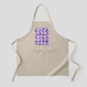Retro Daisies Purple Gingham Circles Apron