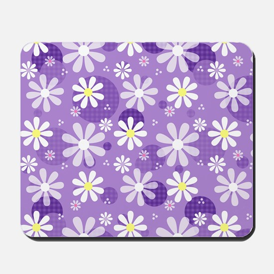 Retro Daisies Purple Gingham Circles Mousepad