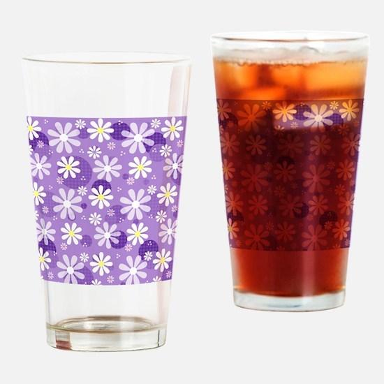 Retro Daisies Purple Gingham Circle Drinking Glass