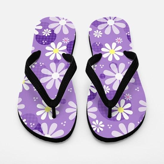 Retro Daisies Purple Gingham Circles Flip Flops