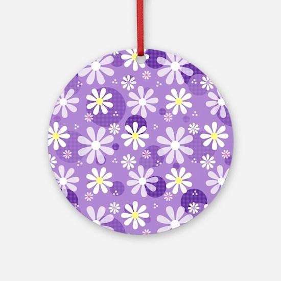Retro Daisies Purple Gingham Circle Round Ornament