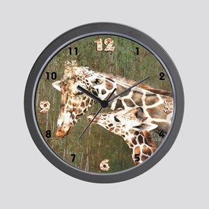 Giraffe Mom and Baby Close Up Wall Clock