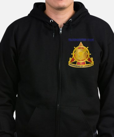 Transportation Corps with Text Zip Hoodie (dark)