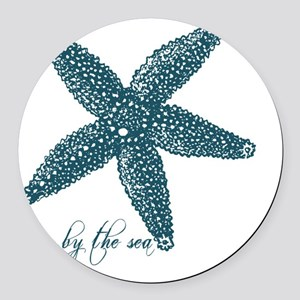 By the Sea Starfish Round Car Magnet