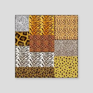 "Patchwork 2 animal Square Sticker 3"" x 3"""