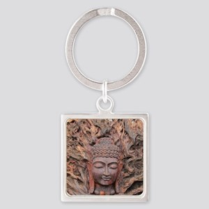 Asian Woodcarving Square Keychain