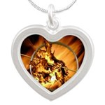 Mocking Hunger Fire Silver Heart Necklace