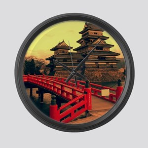 Pagoda with Bridge Large Wall Clock
