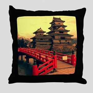 Pagoda with Bridge Throw Pillow