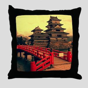Pagoda with Bridge Throw Pillow