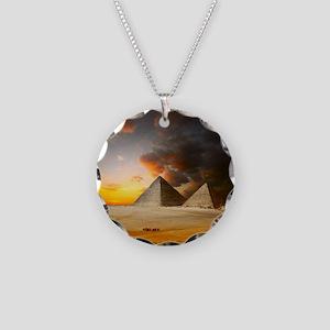 Great Pyramids of Giza Necklace Circle Charm
