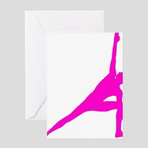 Bikram Yoga Triangle Pose in Pink Greeting Card