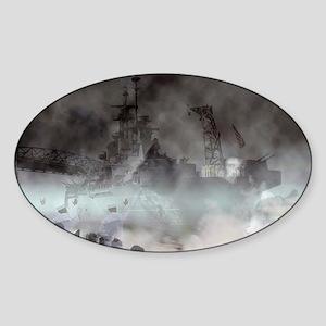 Ghost Ship - Battleship USS North C Sticker (Oval)