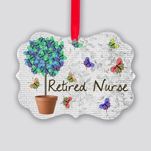 Retired Nurse Pillow 7 butterflie Picture Ornament