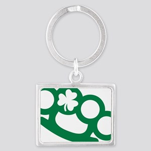 Brass knuckles shamrock irish Landscape Keychain