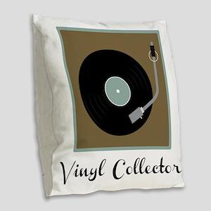 Vinyl Collector Burlap Throw Pillow