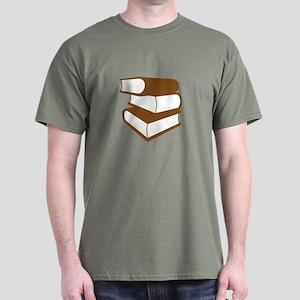Stack Of Brown Books Dark T-Shirt