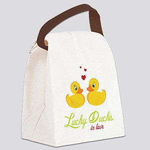 Lucky Ducks In Love Canvas Lunch Bag