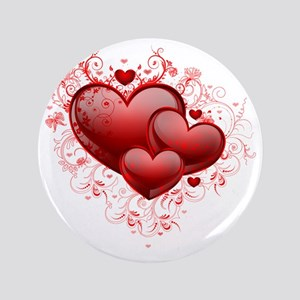 """Floral Hearts 3.5"""" Button"""
