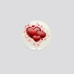 Floral Hearts Mini Button