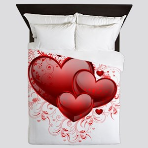 Floral Hearts Queen Duvet