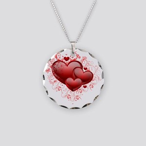 Floral Hearts Necklace Circle Charm
