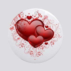 Floral Hearts Round Ornament