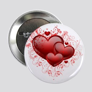 "Floral Hearts 2.25"" Button"