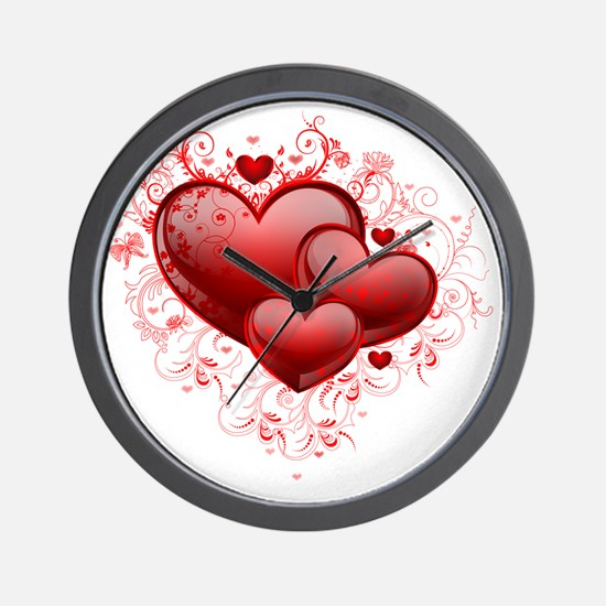 Floral Hearts Wall Clock
