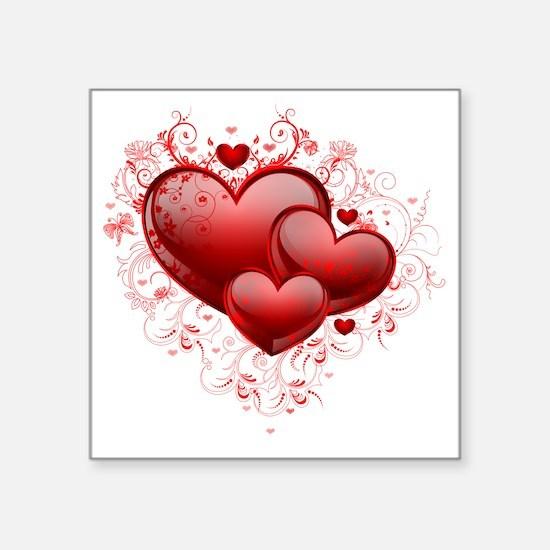 """Floral Hearts Square Sticker 3"""" x 3"""""""