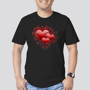 Floral Hearts Men's Fitted T-Shirt (dark)