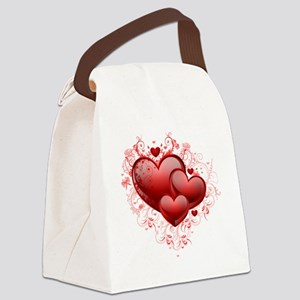 Floral Hearts Canvas Lunch Bag