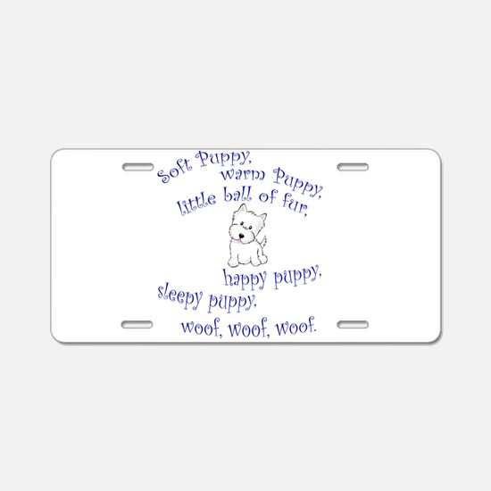 Soft Puppy Aluminum License Plate