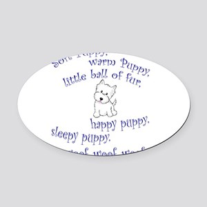 Soft Puppy Oval Car Magnet