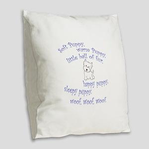 Soft Puppy Burlap Throw Pillow