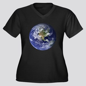Earth Women's Plus Size V-Neck Dark T-Shirt