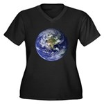 Earth Women's Plus Size V-Neck Dark T-Shirt