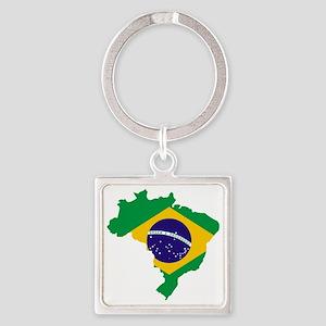 Brasil Flag Map Square Keychain