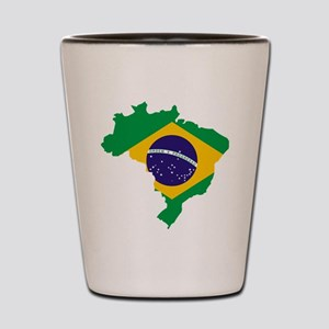 Brasil Flag Map Shot Glass