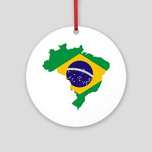 Brasil Flag Map Round Ornament