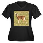 Forked Horn Buck Women's Plus Size V-Neck Dark T-S