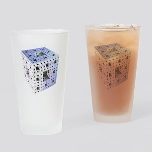 Silver Menger sponge fractal Drinking Glass