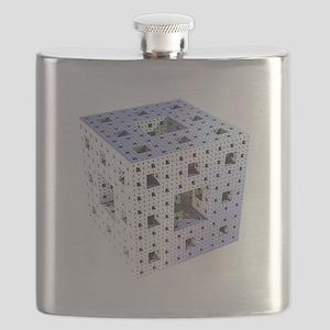 Silver Menger sponge fractal Flask