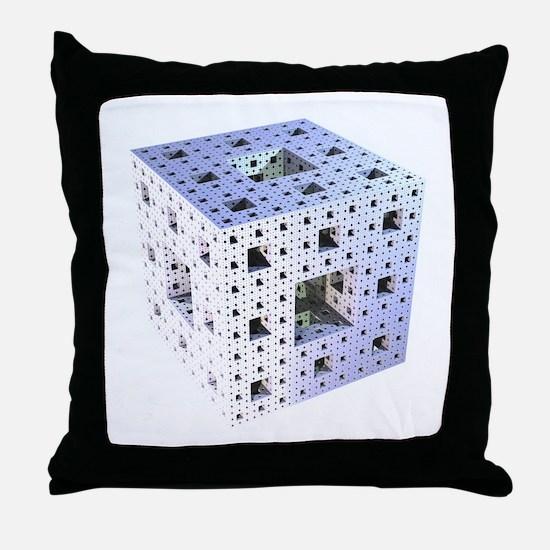 Silver Menger sponge fractal Throw Pillow