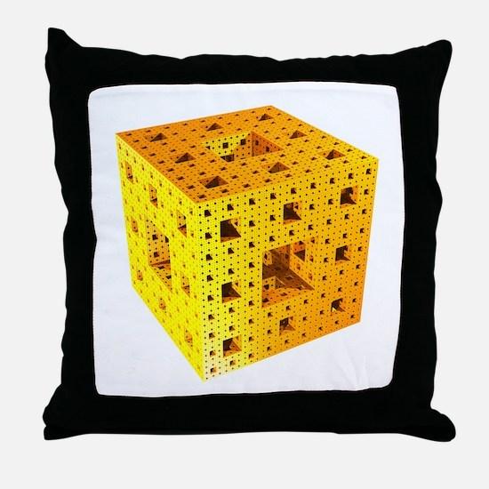 Yellow Menger sponge fractal Throw Pillow