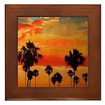 Mission Beach Sunset Framed Tile