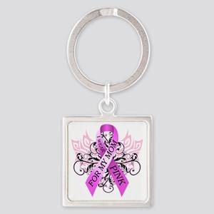 I Wear Pink for my Mom Square Keychain