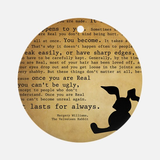 Velveteen Rabbit Print Round Ornament
