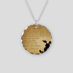 Velveteen Rabbit Print Necklace Circle Charm